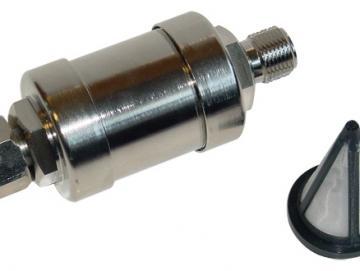 Farbfilter (Maschenweite 100) und Gehäuse - passt direkt auf den Flüssigkeitsauslassbehälter - BSP für 10l Druckgefäß
